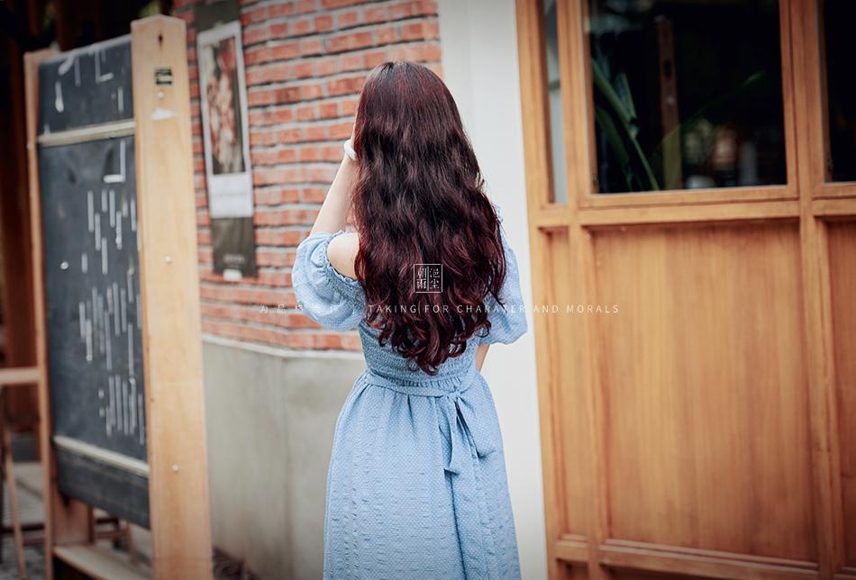 女装摄影-蓝色气质仙女长裙5
