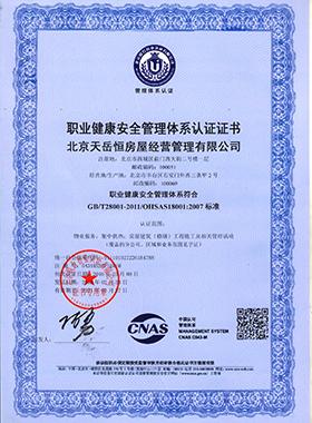 职业健康安全体系认证书