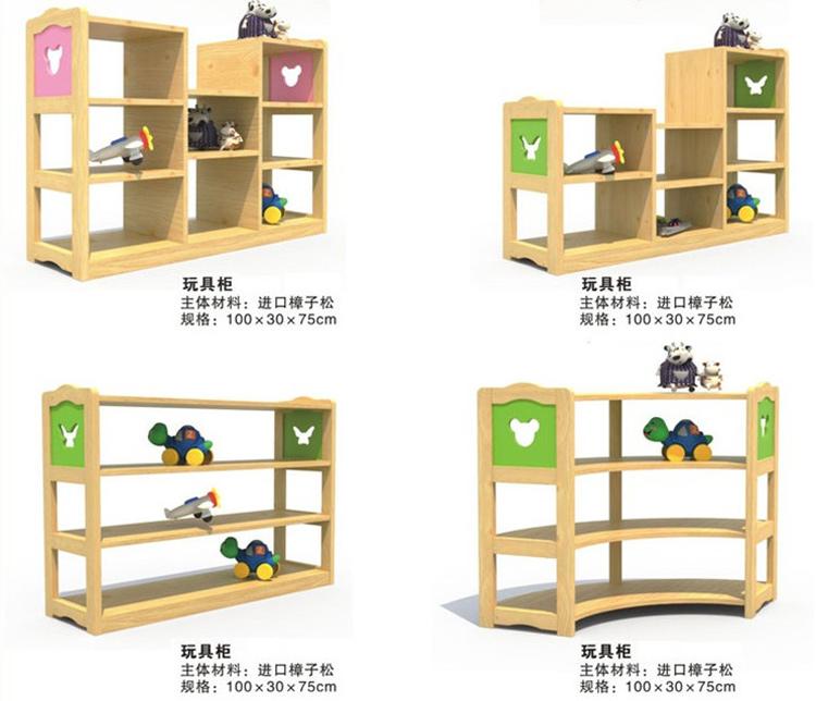 【幼儿园儿童区角组合玩具柜】幼儿园储物收纳转角柜儿童实木玩具柜组合_01