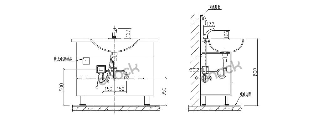 EK-8117感应水龙头安装示意图