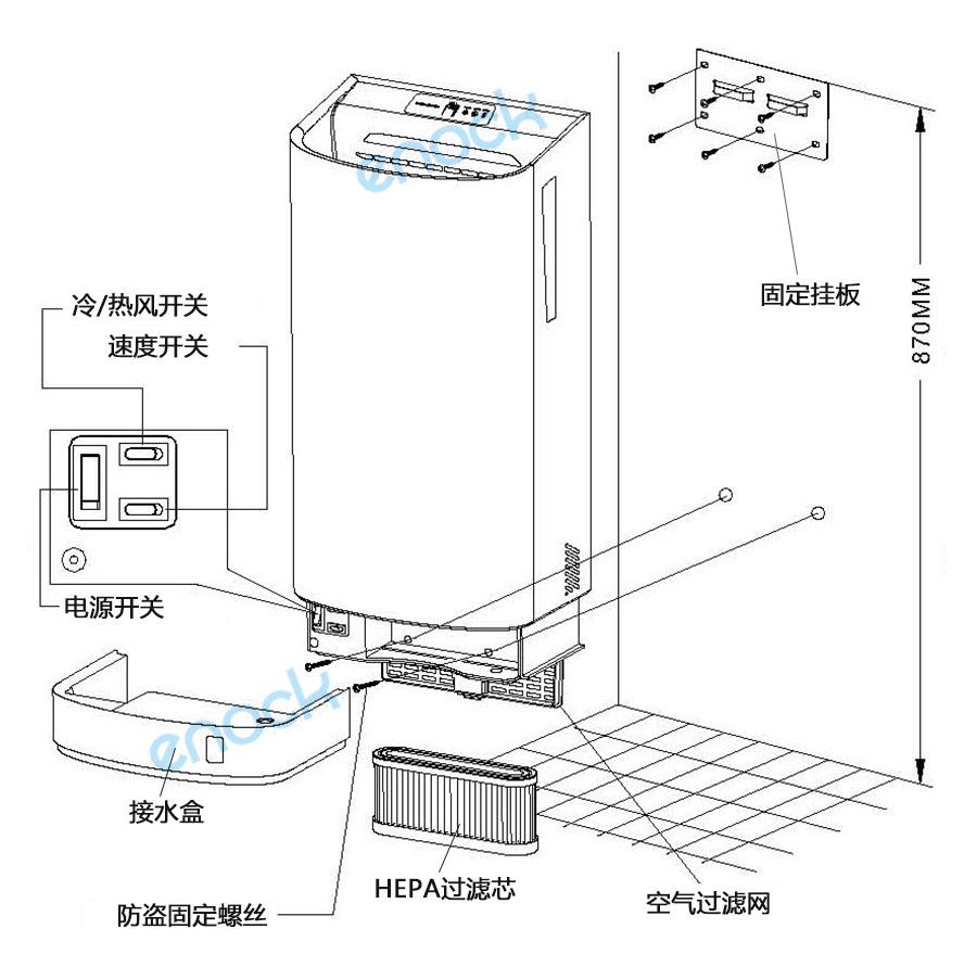 双面喷气式干手机构造部件