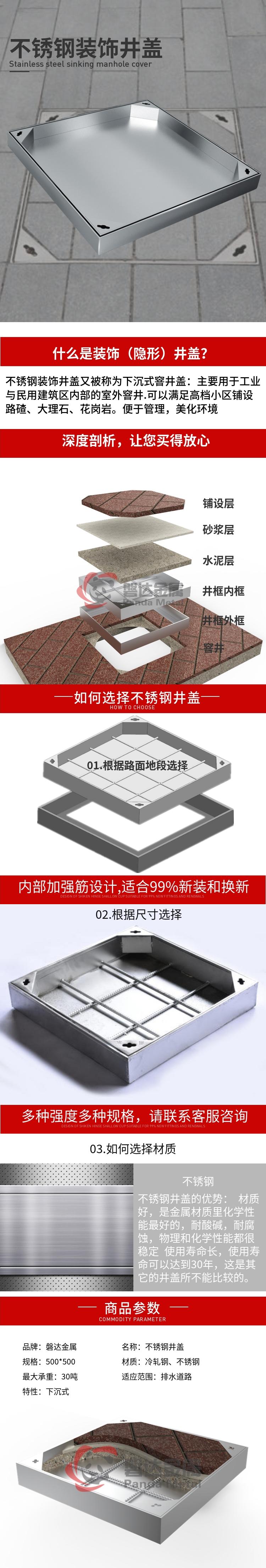不锈钢方形装饰井盖