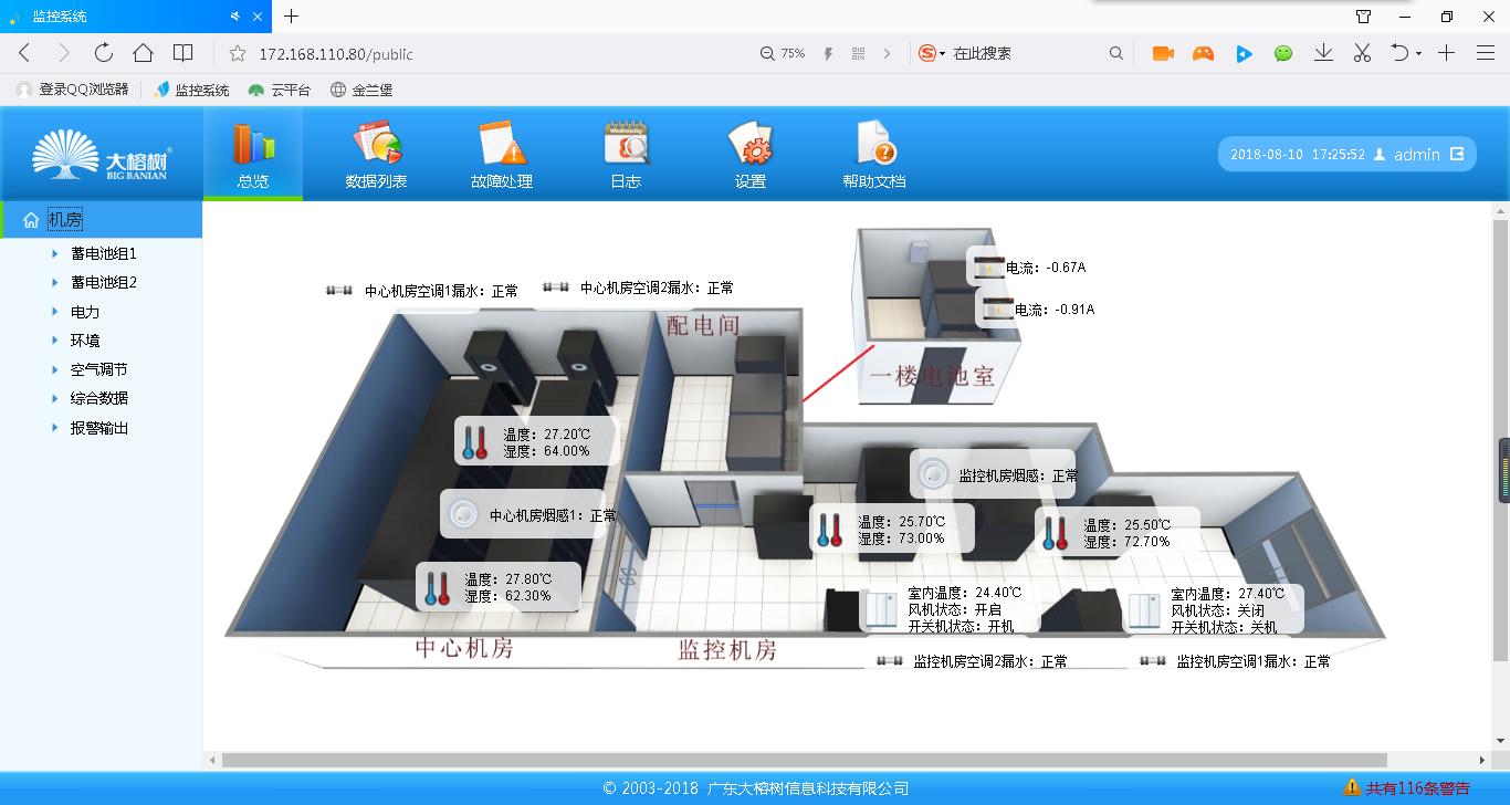 崖门数据中心机房动环监控3D图