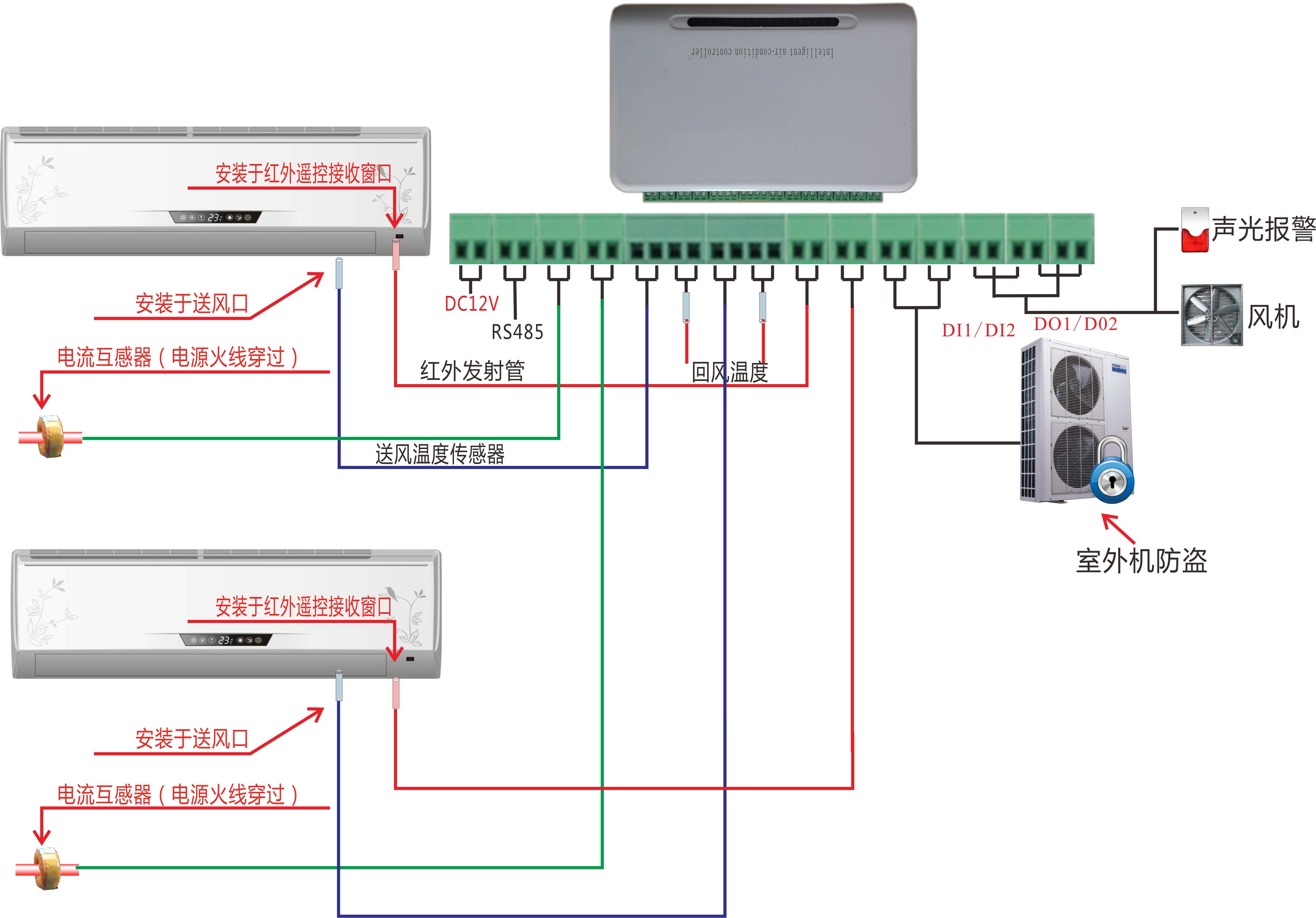 AIRC1000空调双机切换器壁挂空调系统图