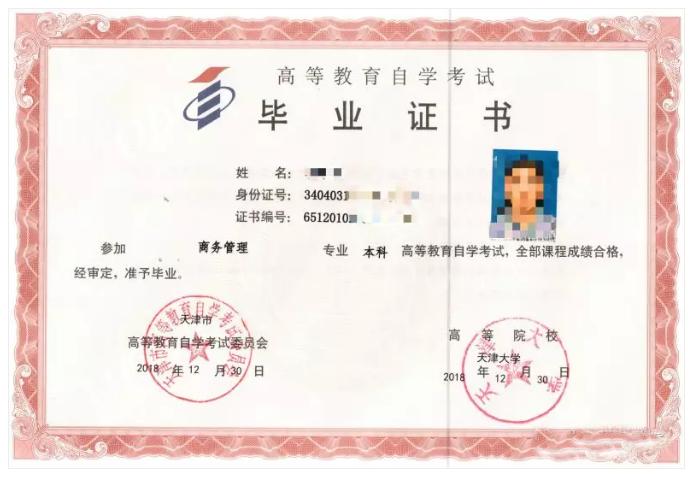 工业大学毕业证书