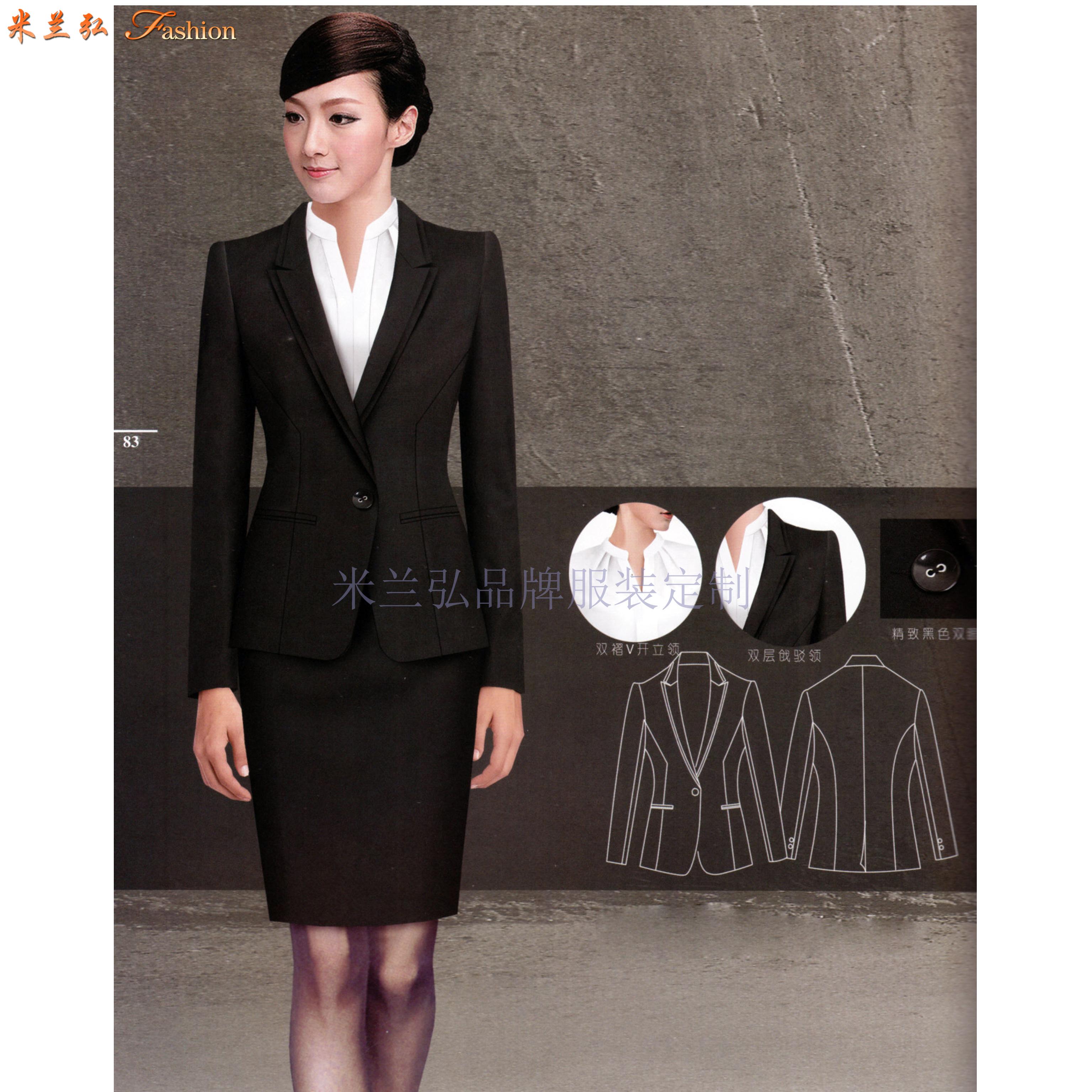 比較正式的商務西服一般選擇黑色或者藏藍色的羊毛面料-米蘭弘-3