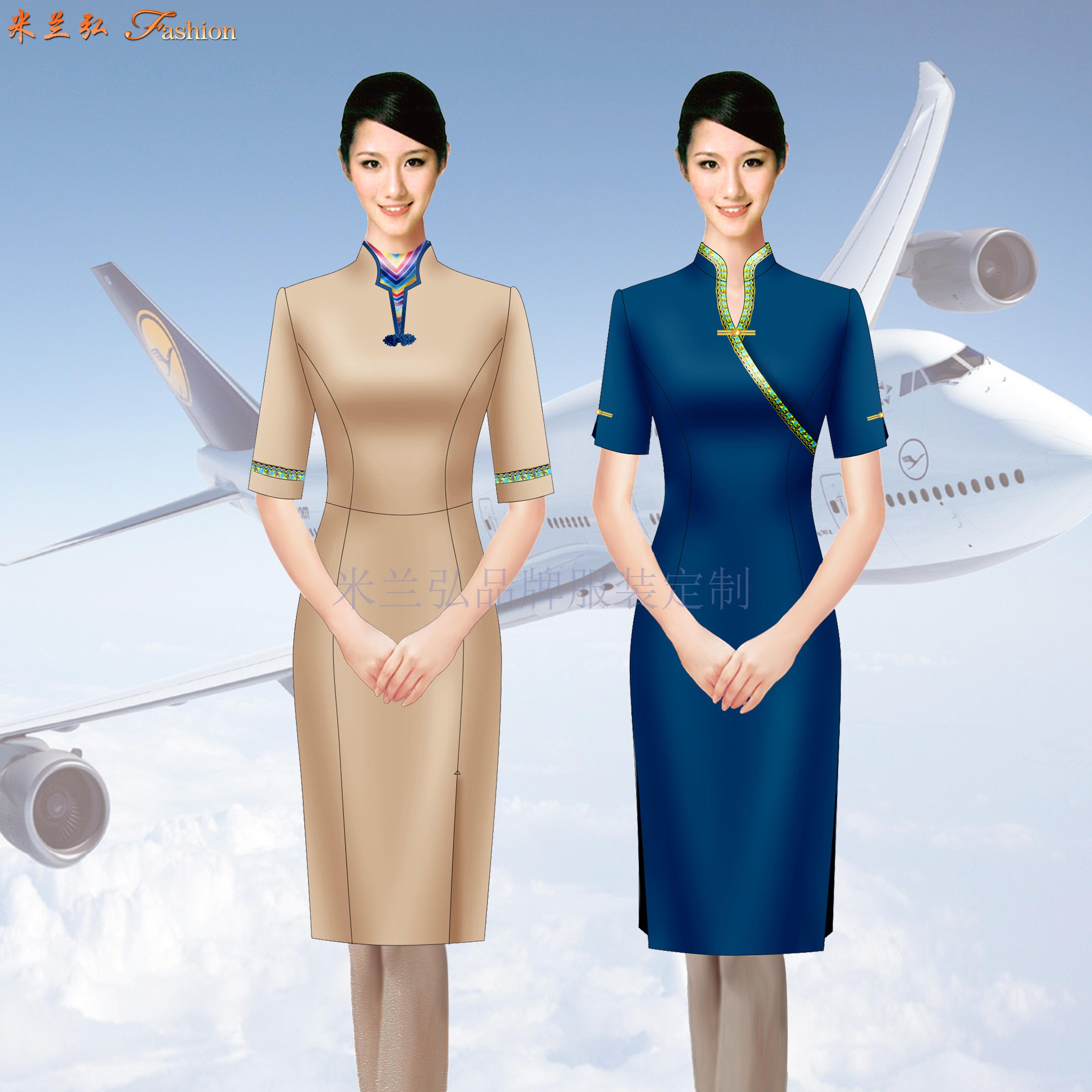 空姐連衣裙制服圖片|高鐵乘務員中式立領連衣裙定做-米蘭弘服裝-3