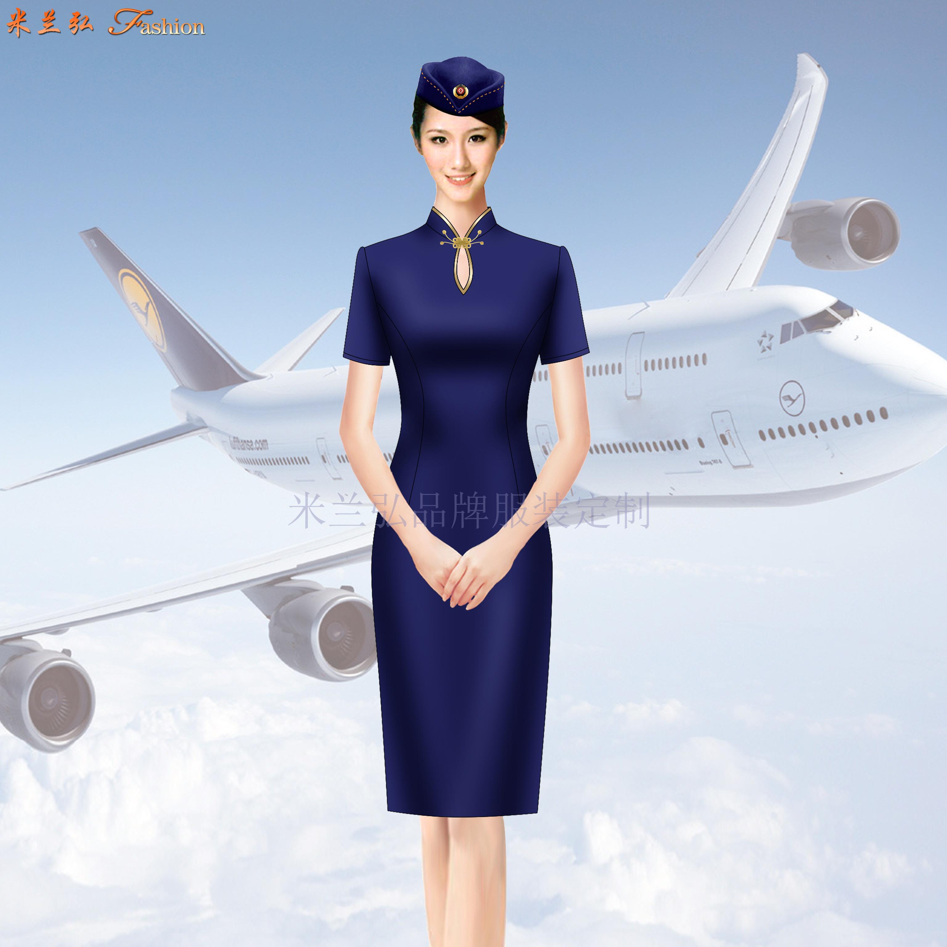 空姐連衣裙制服圖片|高鐵乘務員中式立領連衣裙定做-米蘭弘服裝-4