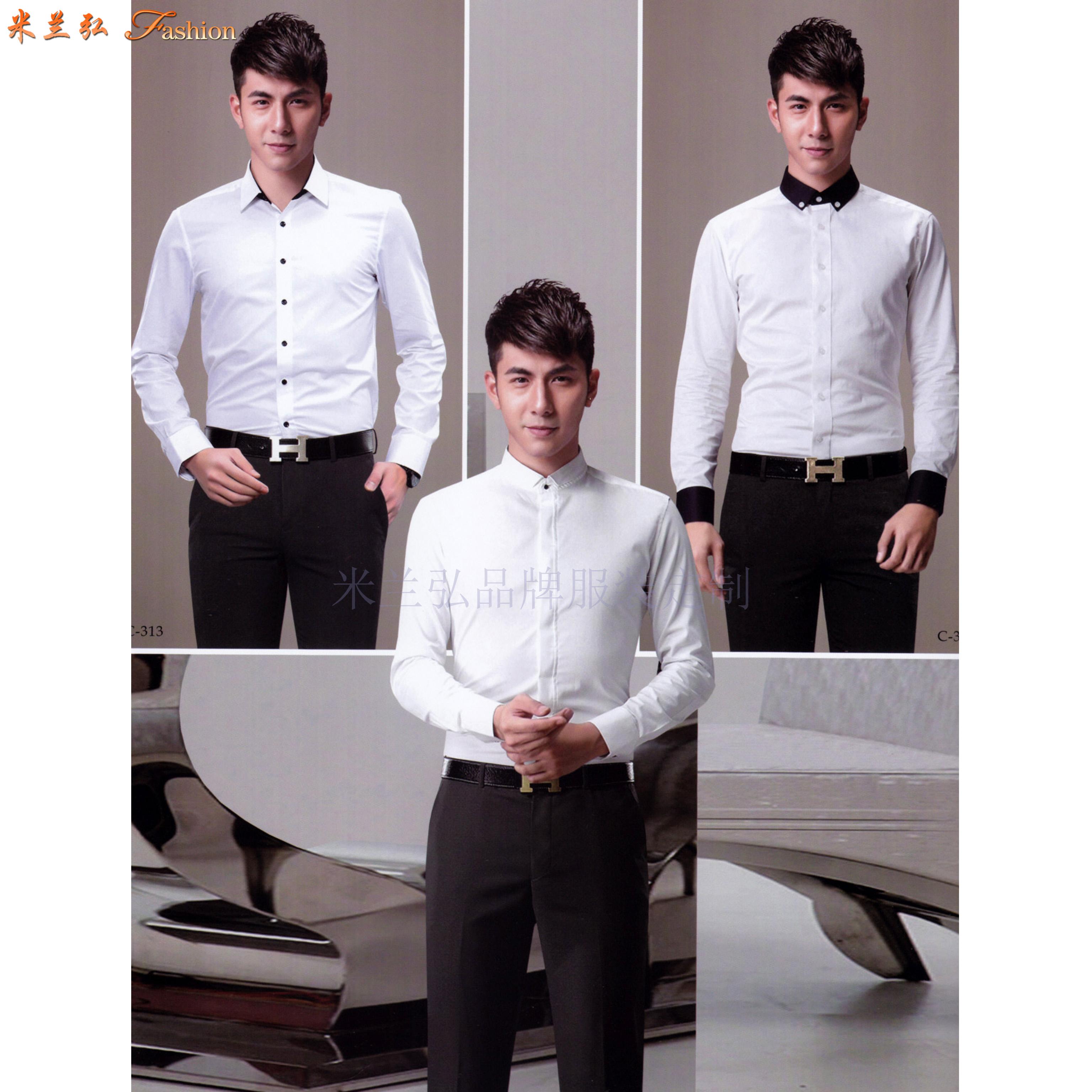 「法式襯衫」定制企業高管純棉免燙法式襯衫、白色防靜電襯衫-2