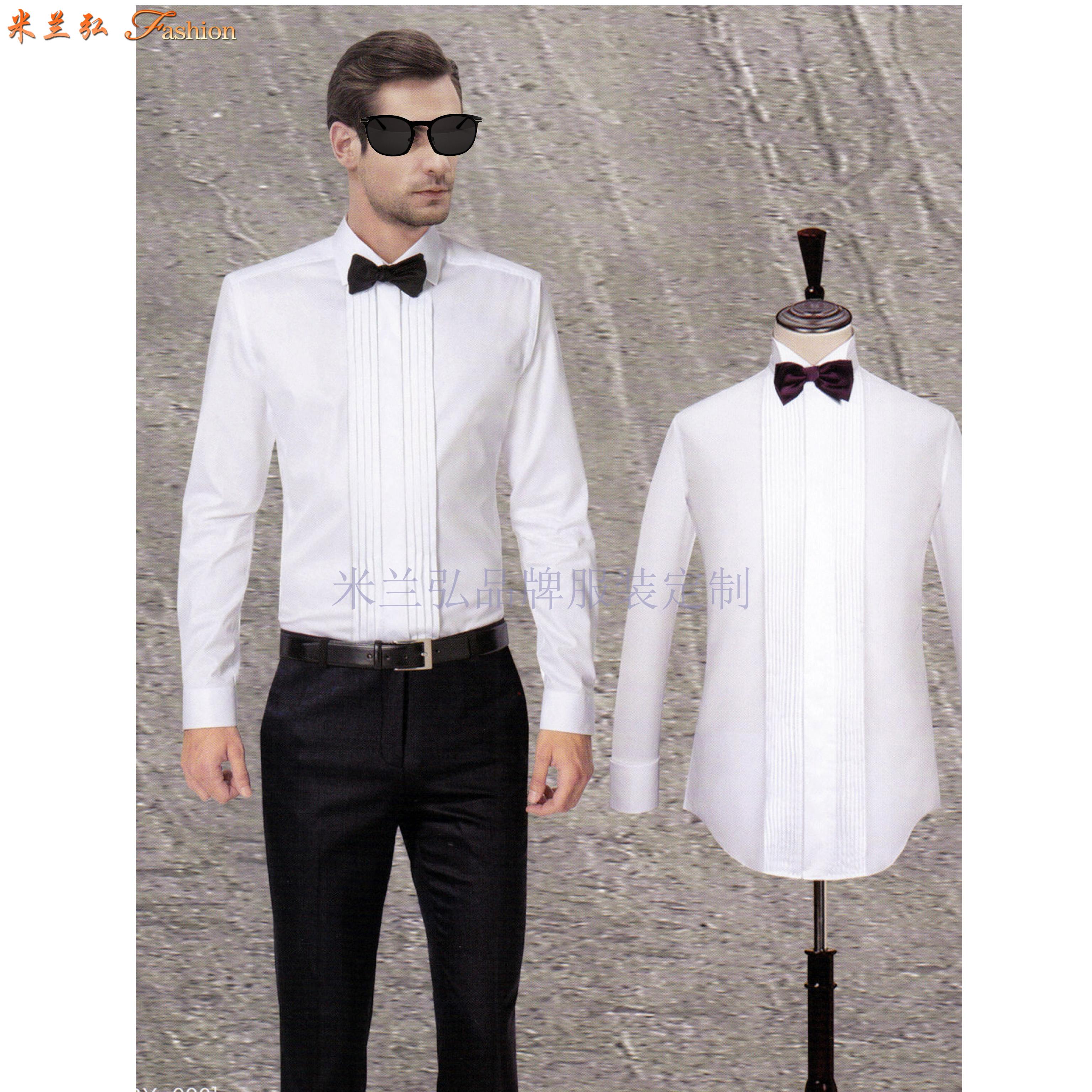 「法式襯衫」定制企業高管純棉免燙法式襯衫、白色防靜電襯衫-3