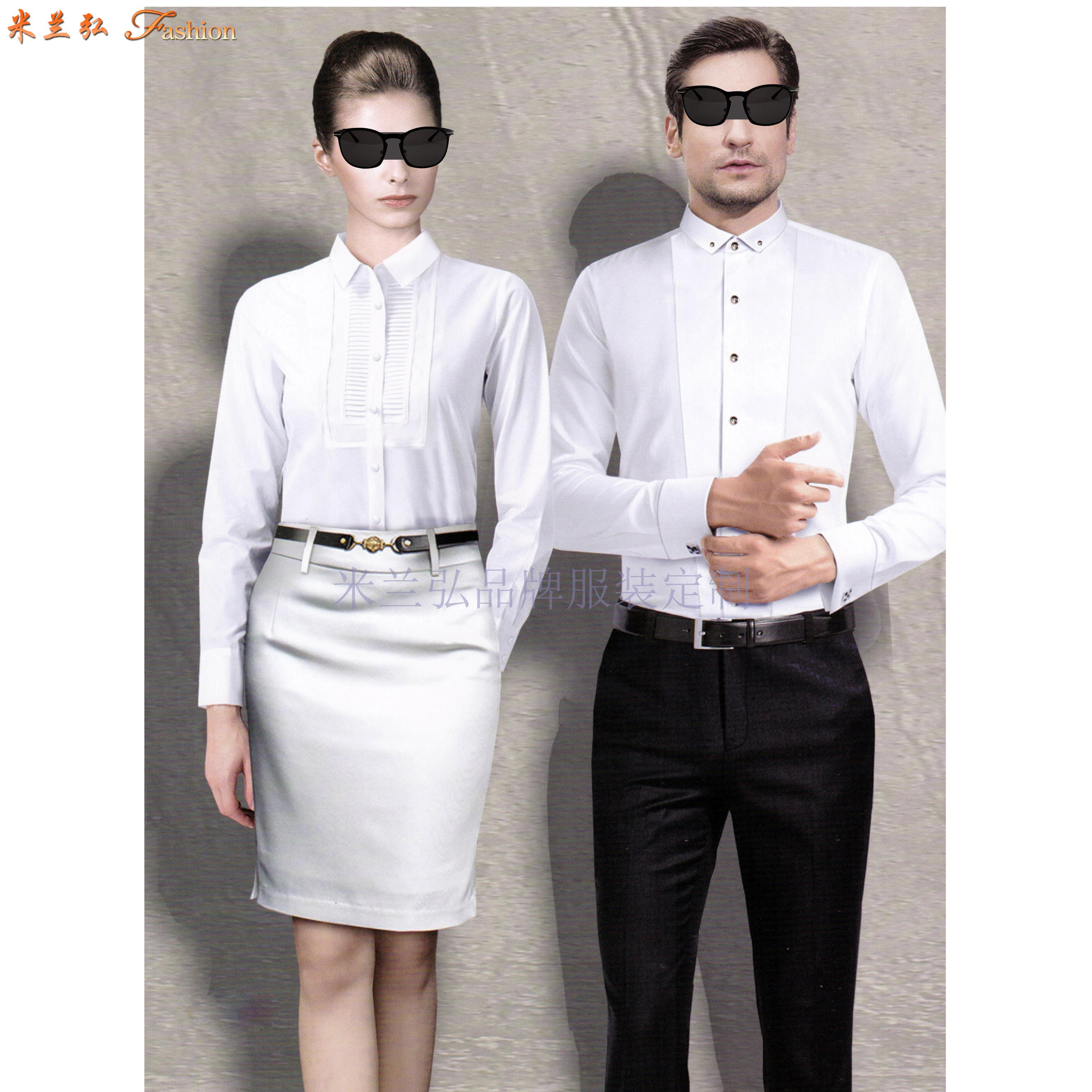 「法式襯衫」定制企業高管純棉免燙法式襯衫、白色防靜電襯衫-4