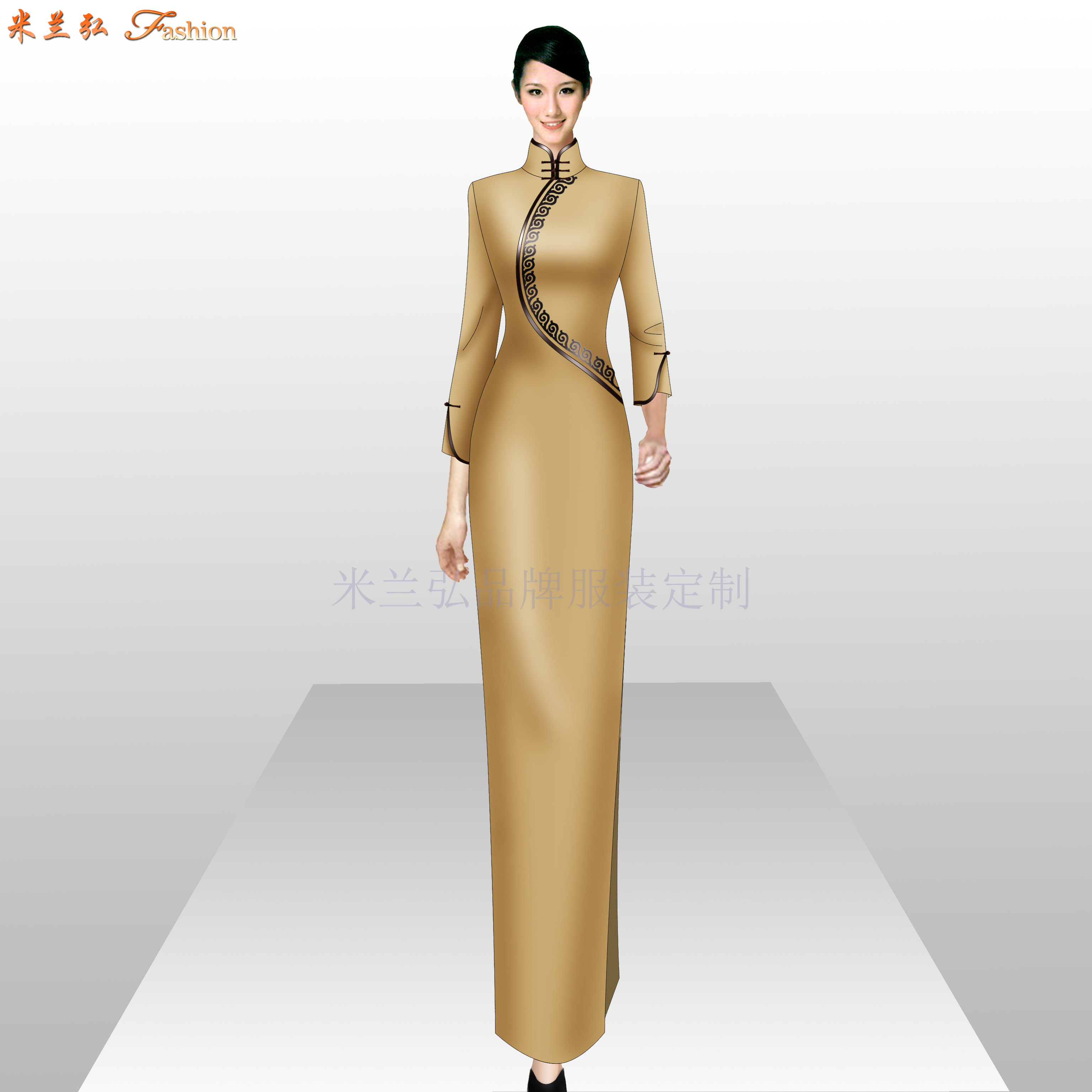 「旗袍高端定制」「旗袍高级订制」-米兰弘品牌服装-3