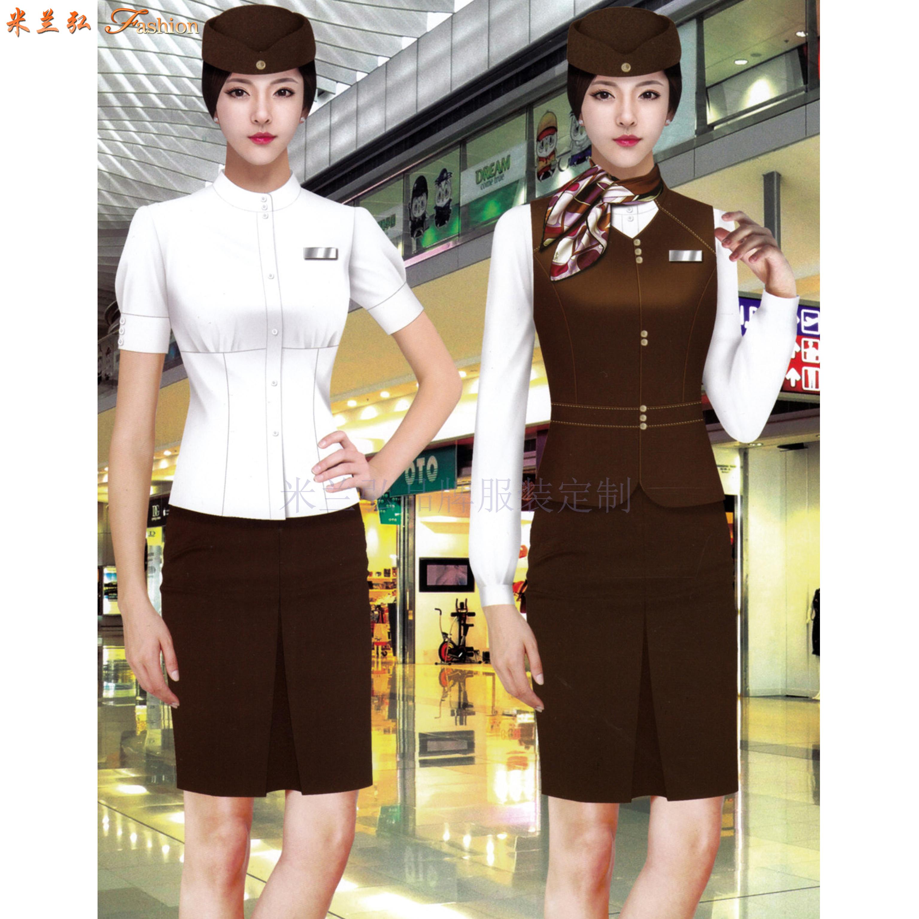 「濟南空姐服定制」「濟南空乘服訂做」推薦式樣時髦米蘭弘服裝-1