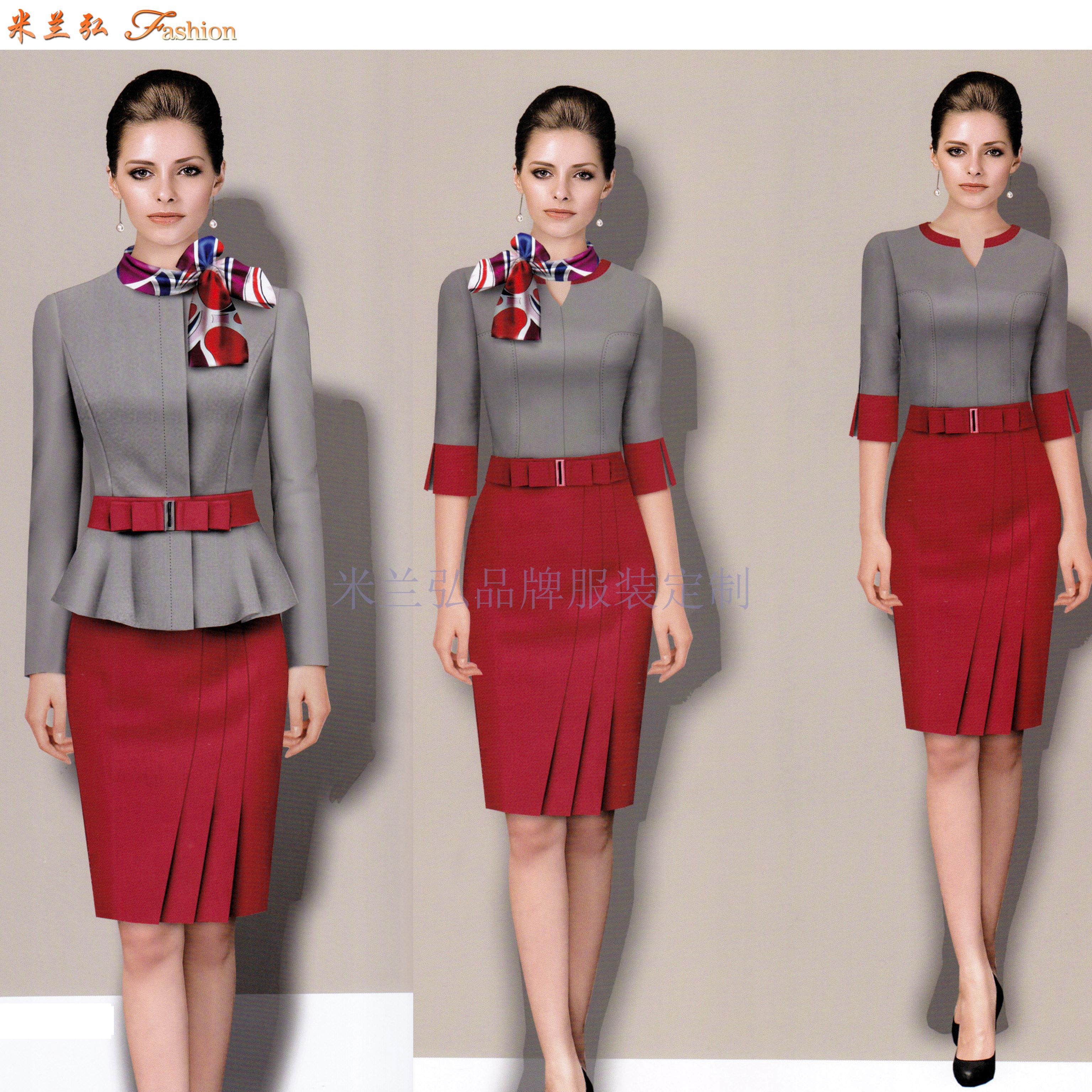 「濟南空姐服定制」「濟南空乘服訂做」推薦式樣時髦米蘭弘服裝-4