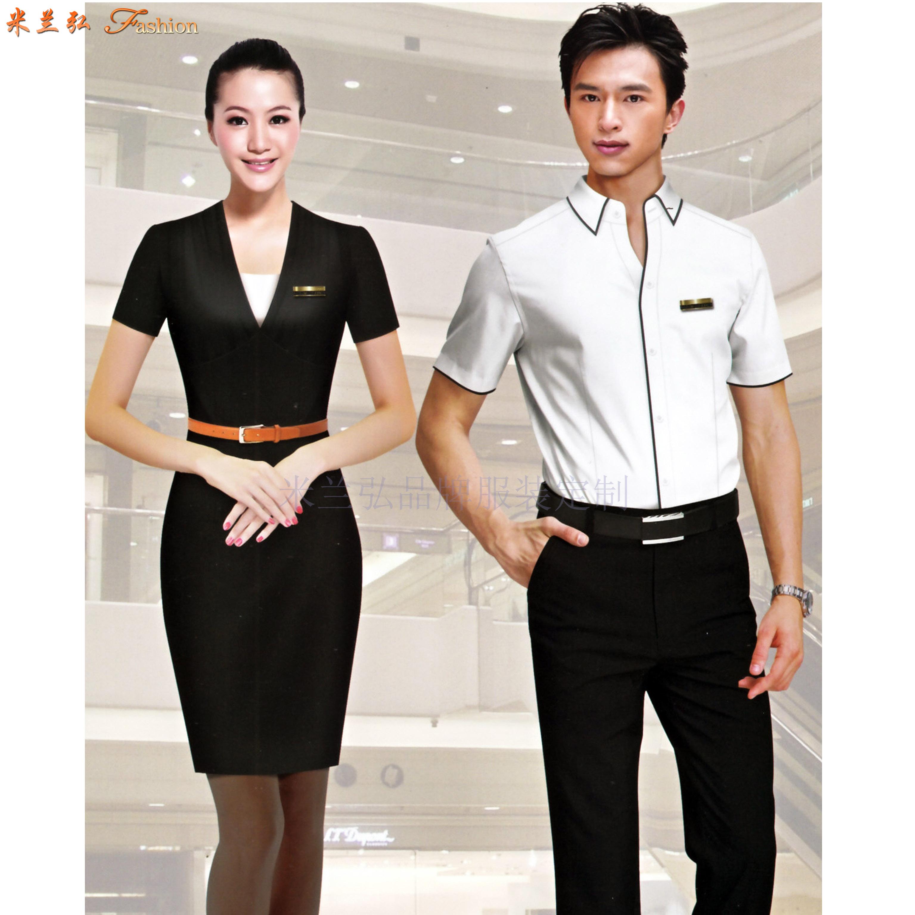 「短袖工作服」供应订制企业夏天凉爽短袖衬衫套装-米兰弘服装-4