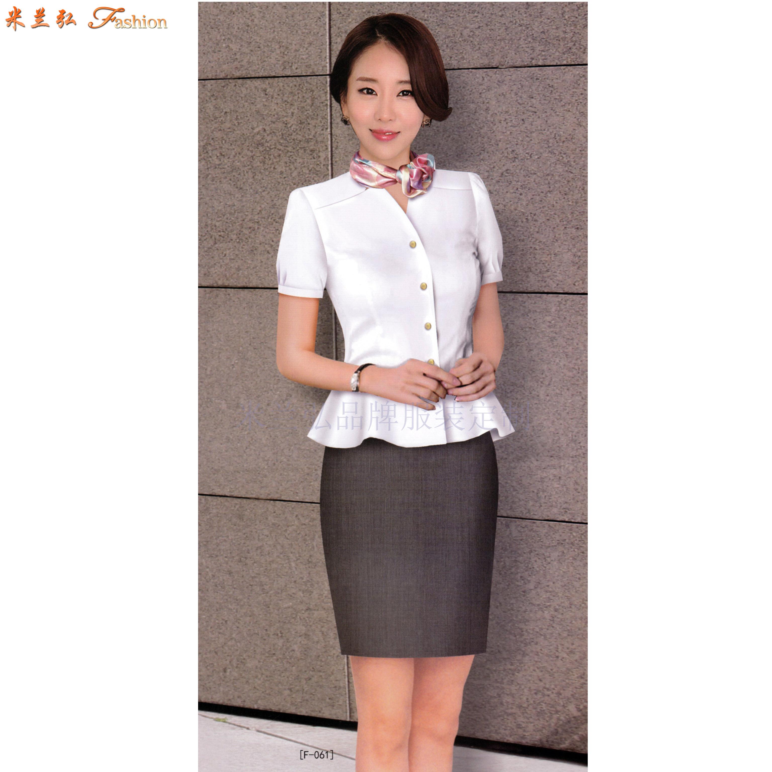 「短袖工作服」供应订制企业夏天凉爽短袖衬衫套装-米兰弘服装-1