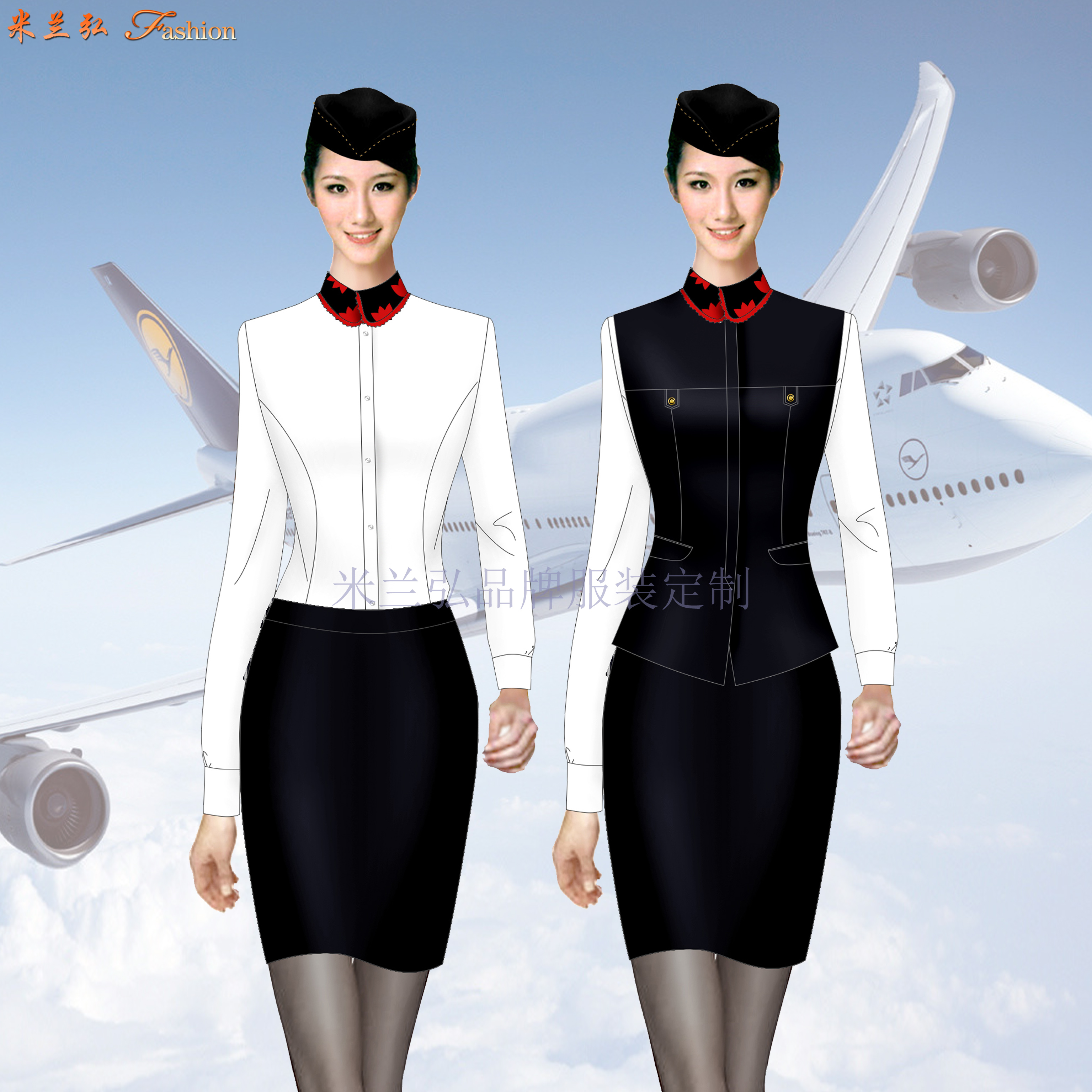 「夏季空姐服」批發定做空姐服夏季短袖套裝廠家-米蘭弘服裝-2