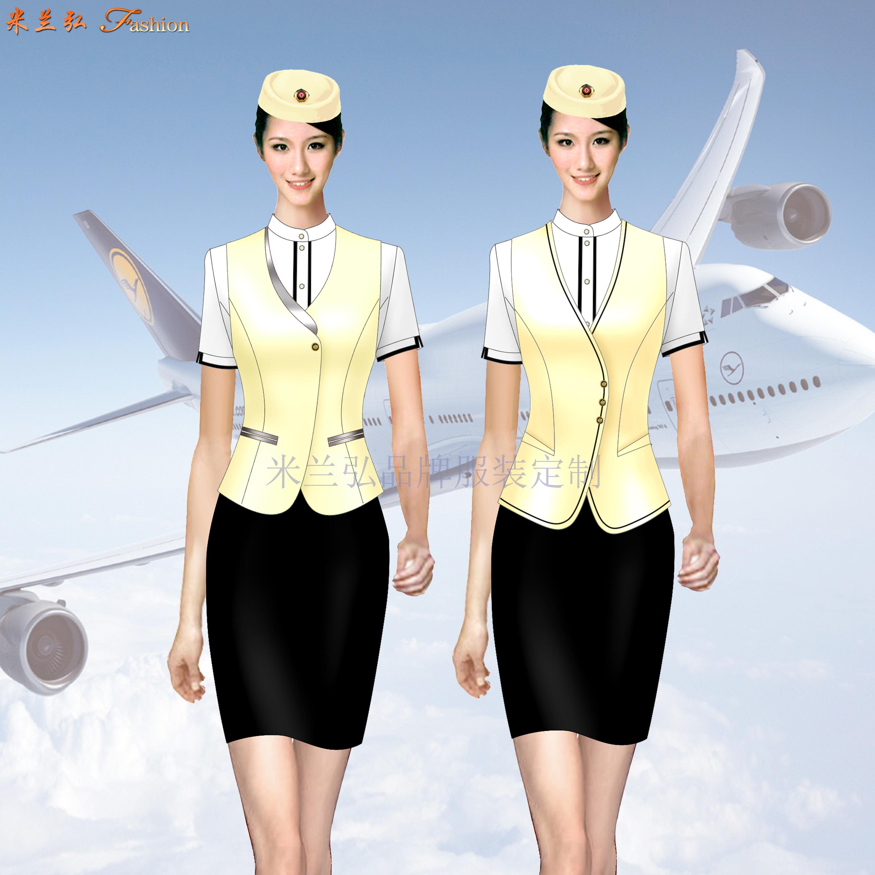 「夏季空姐服」批發定做空姐服夏季短袖套裝廠家-米蘭弘服裝-3