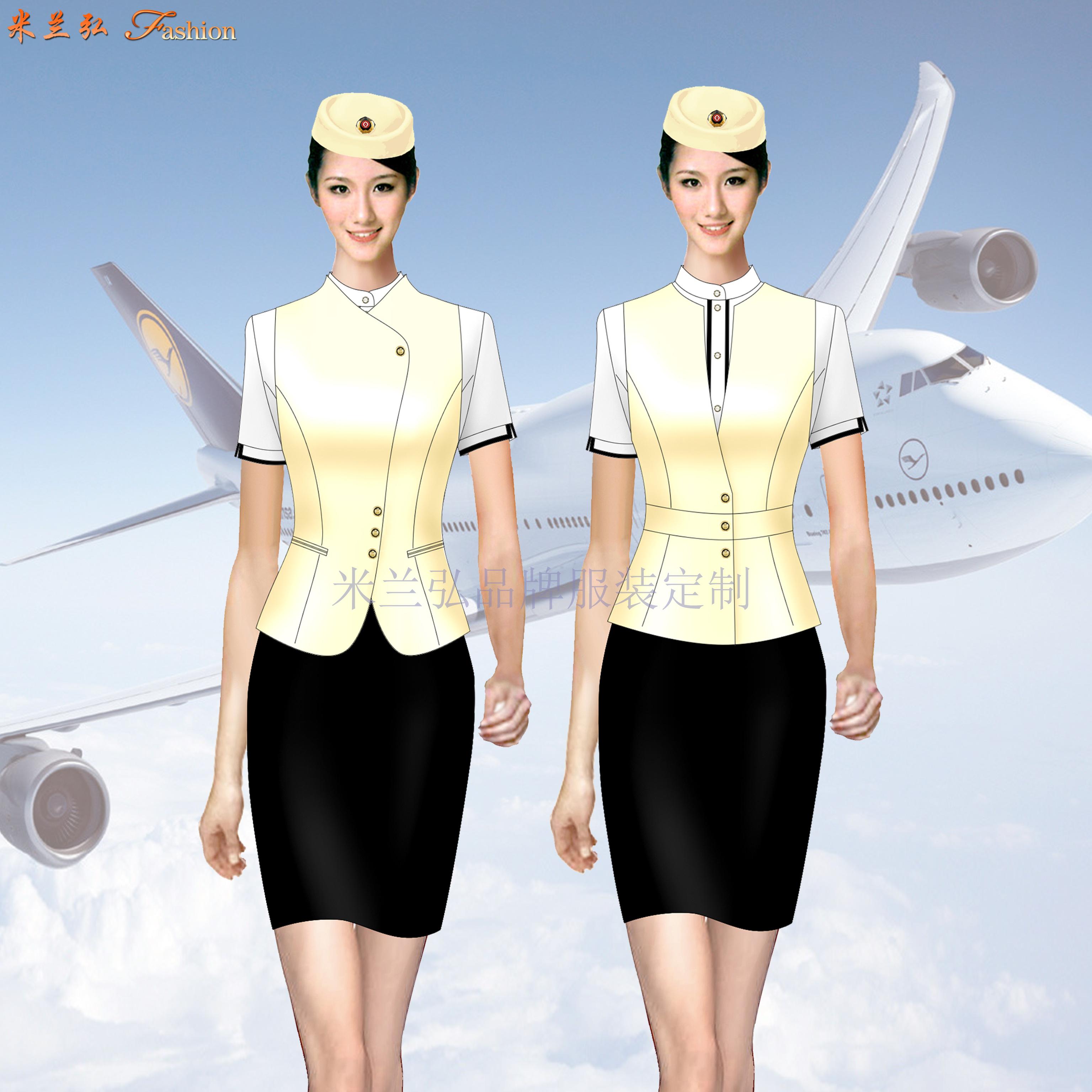 「夏季空姐服」批發定做空姐服夏季短袖套裝廠家-米蘭弘服裝-4