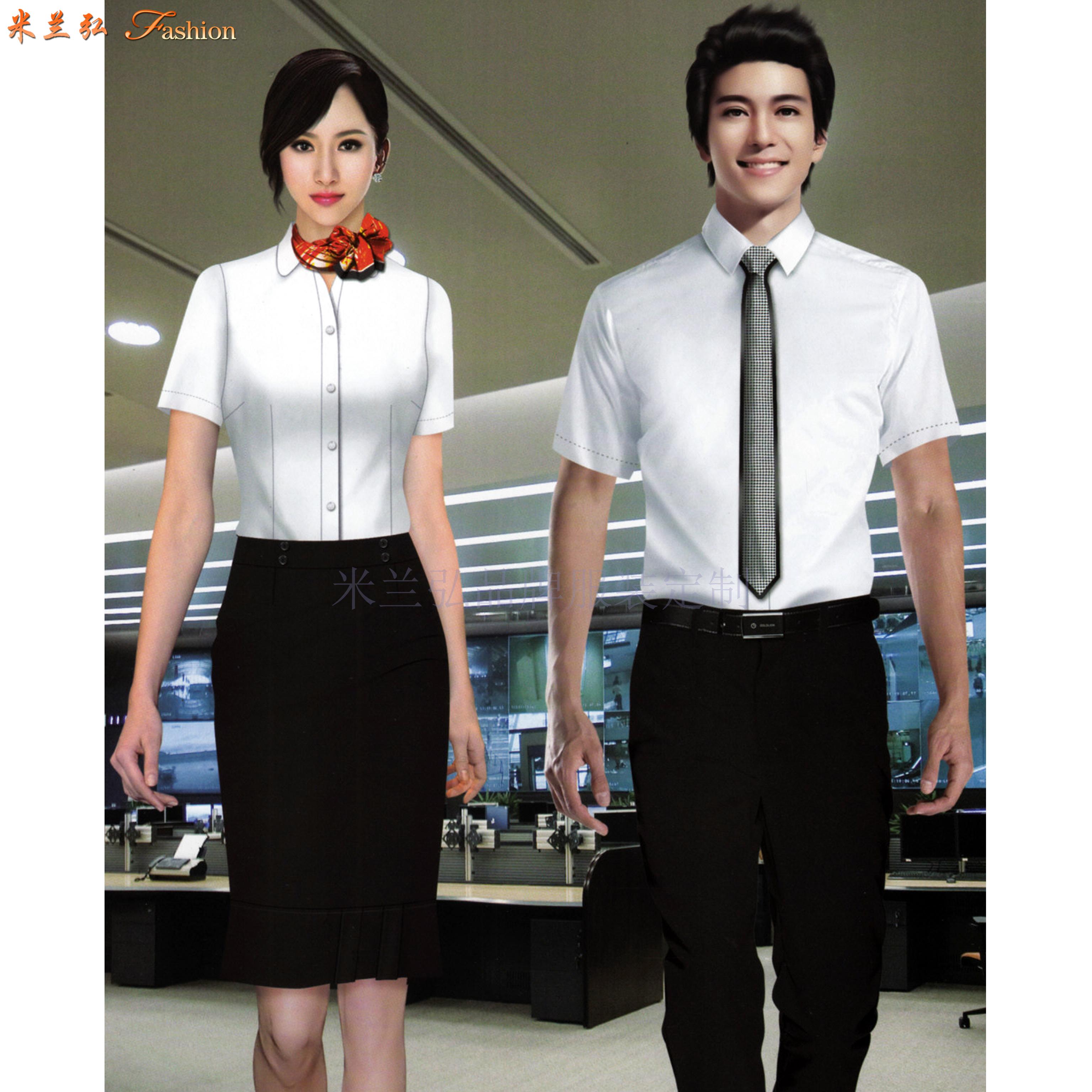 「白襯衫」廠家直供夏天白色男女通勤天絲棉襯衫-米蘭弘服裝-5