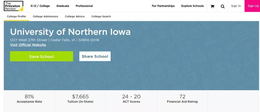 普林斯顿北爱荷华大学排名