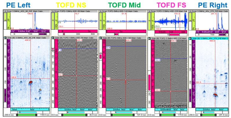 TOFD分区210mm壁厚窄间隙焊TOFD-PE检测结果