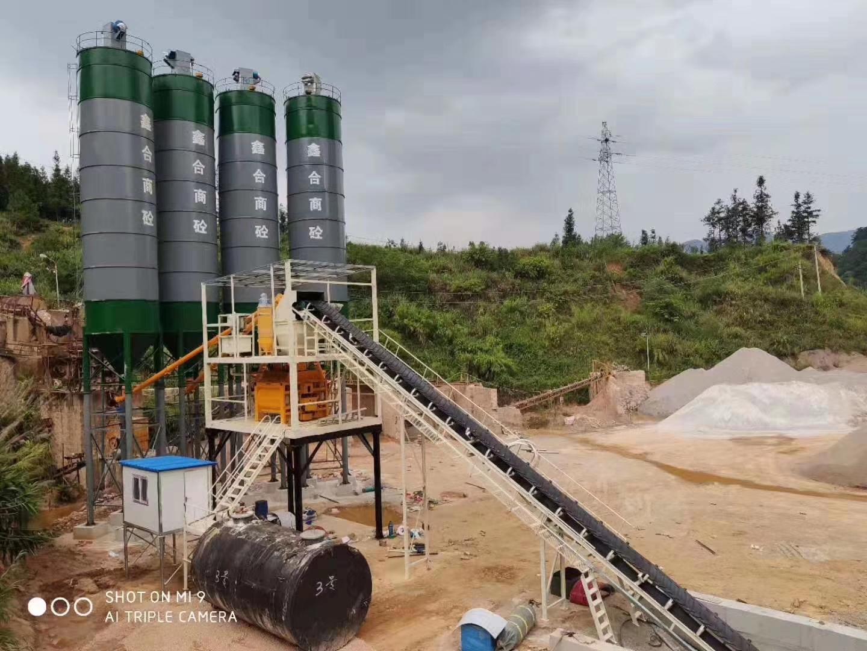 广西河池HZS120型混凝土搅拌站现场1