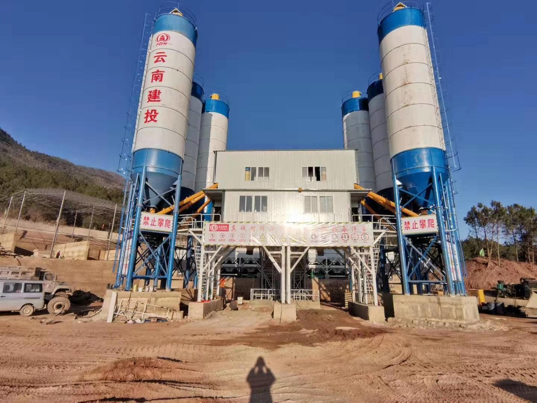 云南建投双线HZS120型混凝土搅拌站