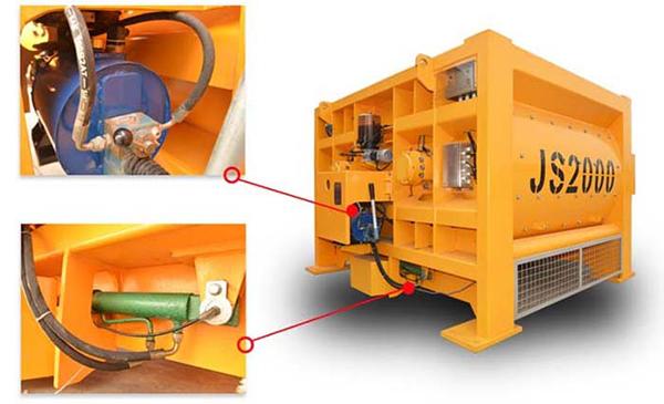 JS强制双卧轴搅拌机气缸轴端图片供应建