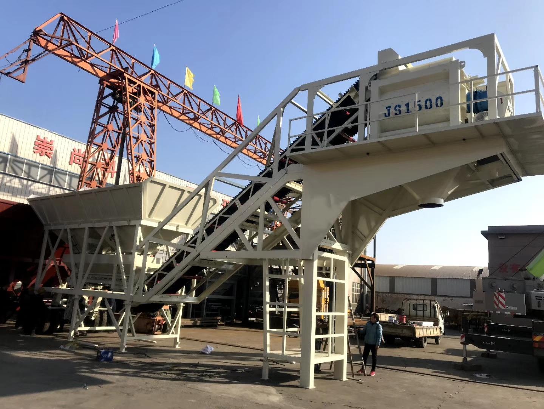 YHZS100型强制移动混凝土搅拌站现场