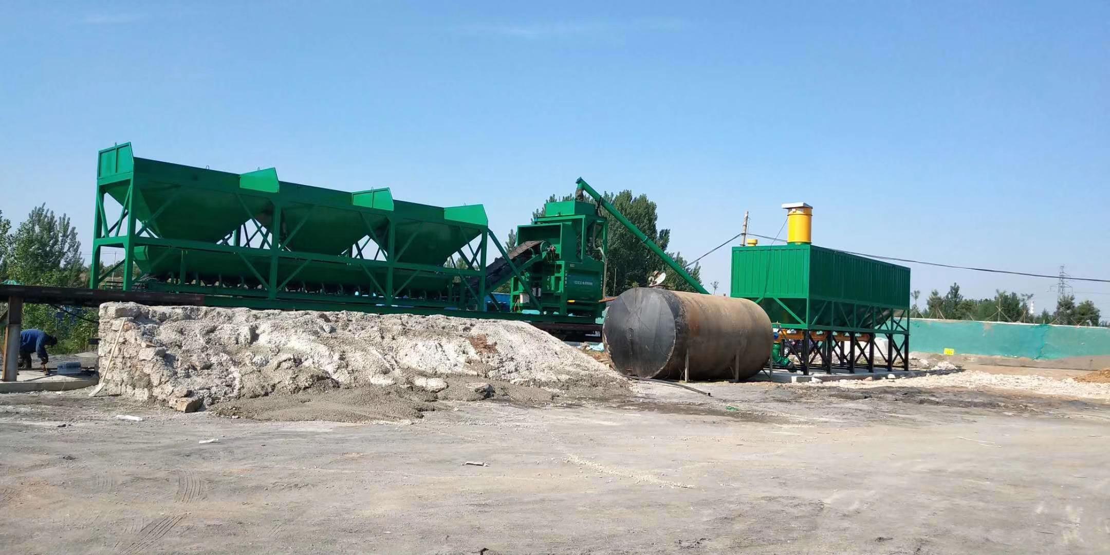 山西晋中YHZS100型强制移动混凝土搅拌站现场