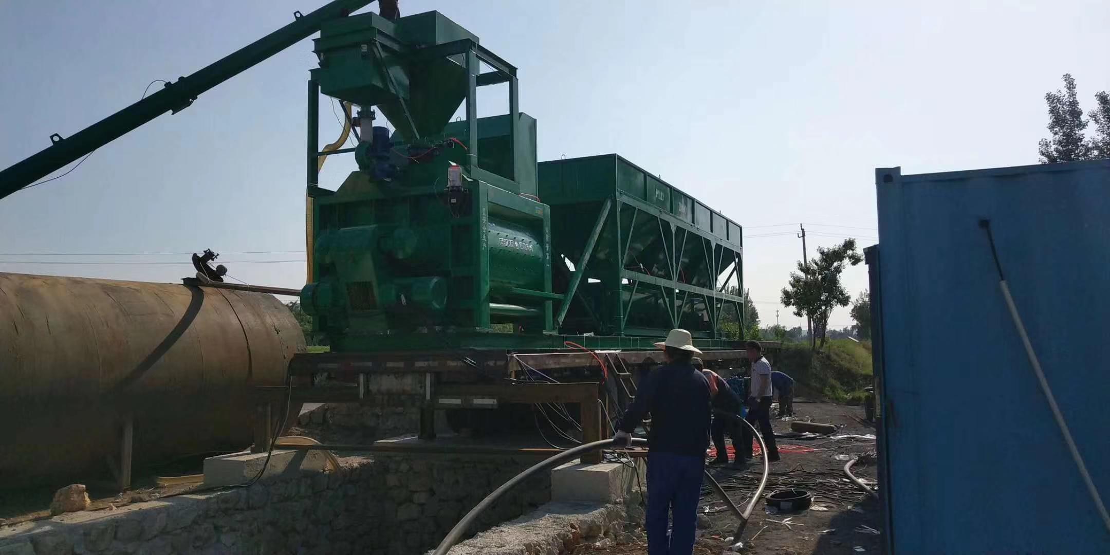 陕西安康YHZS100型移动混凝土搅拌站现场