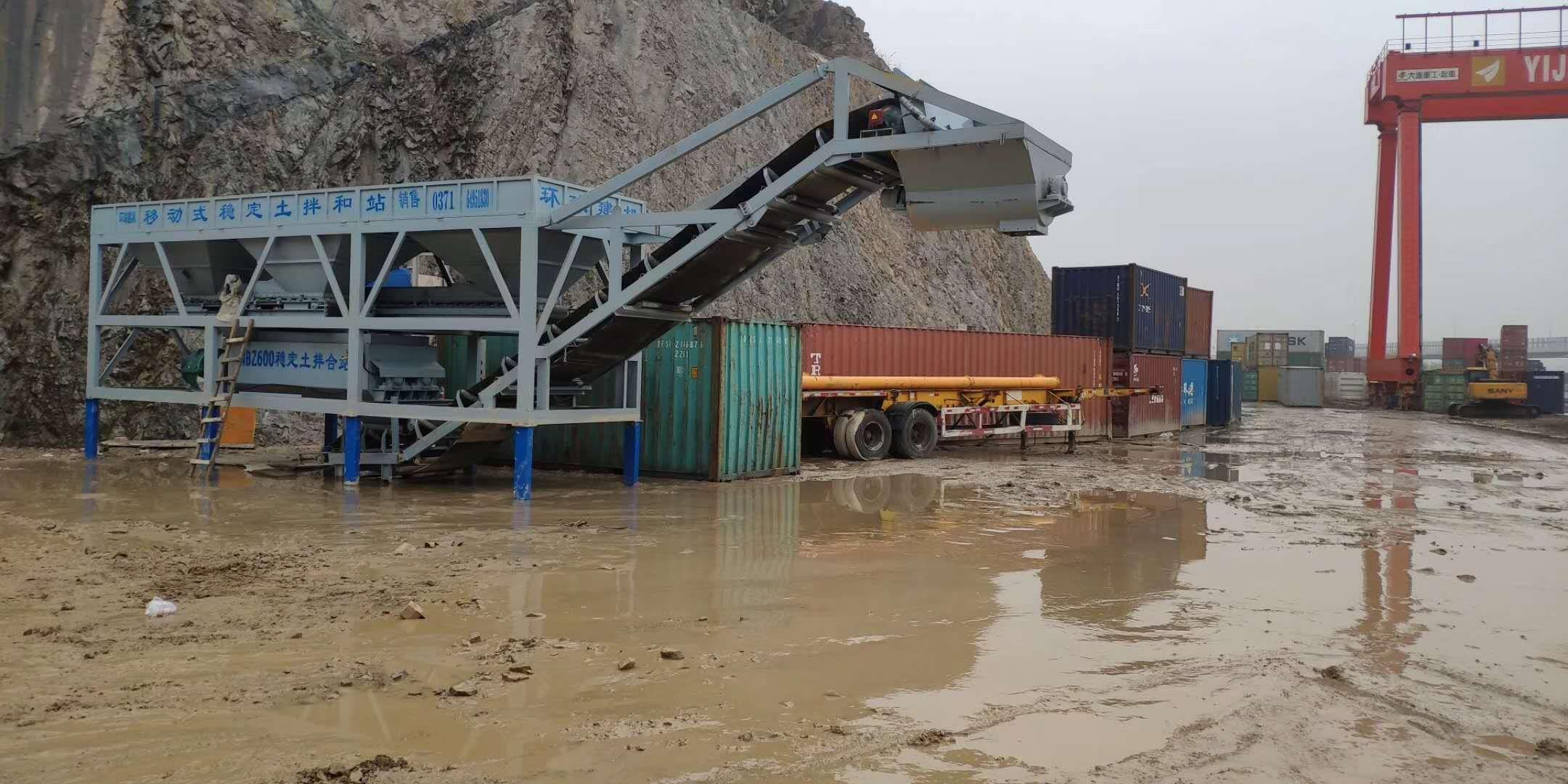 广西贵港YWBZ500型移动稳定土拌合站现场