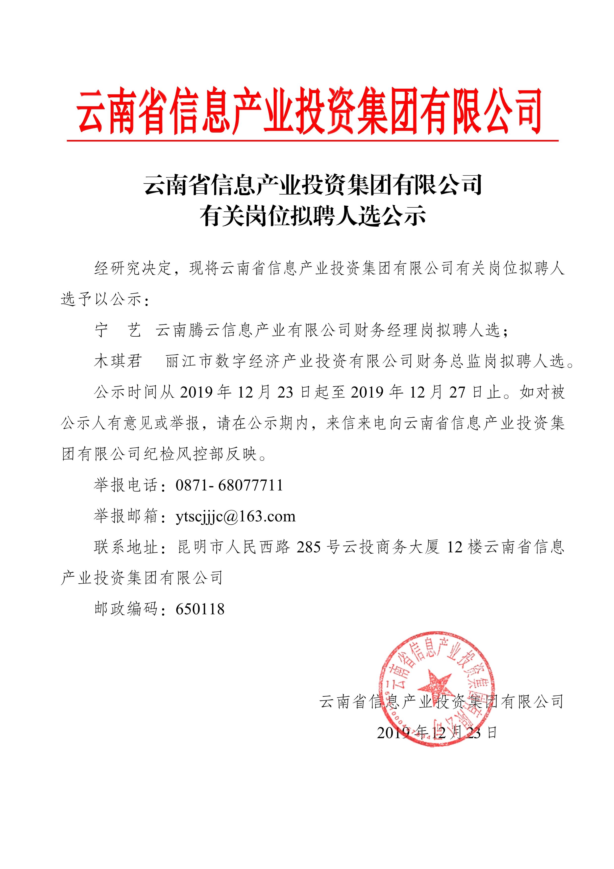 云南省信息产业投资集团有限公司有关岗位拟聘人选公示-12.24