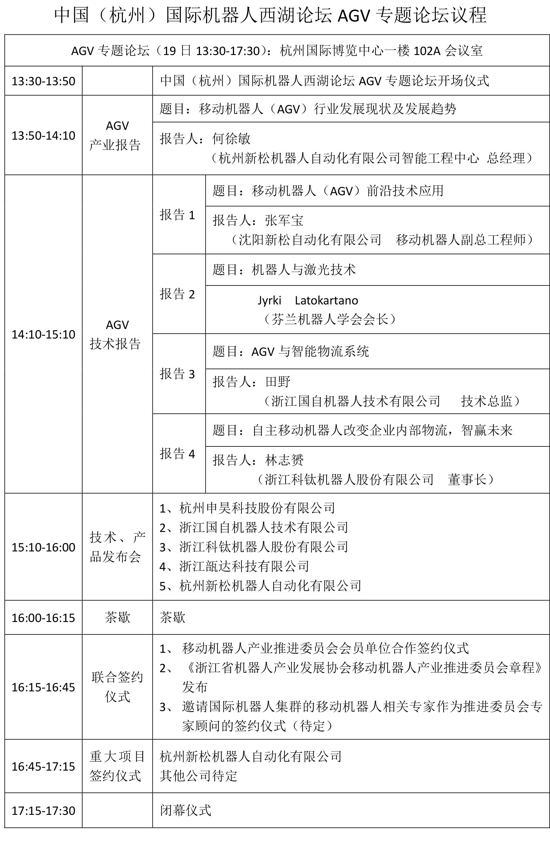AGV专题论坛议程