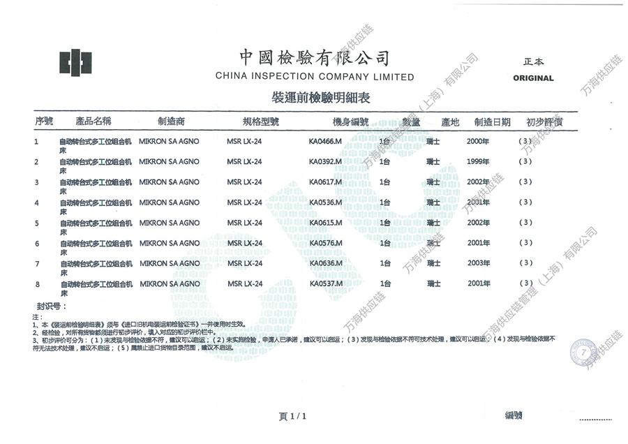 自动转台式多工位组合机床-进口旧机电产品装运前检验证书-自动转台式多工位组合机床-装运前检验明细表