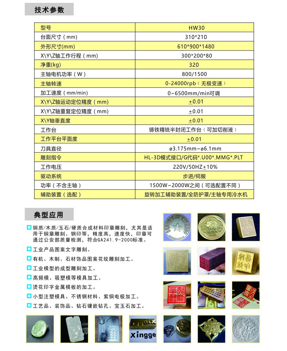 HW30铜章雕刻机综合1