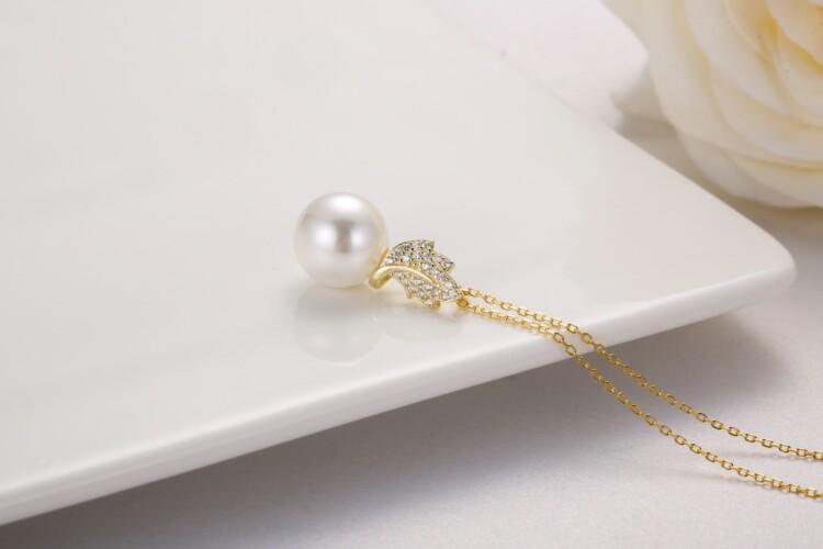 叶子钻石珍珠吊坠,耳钉-IMG_2869_1