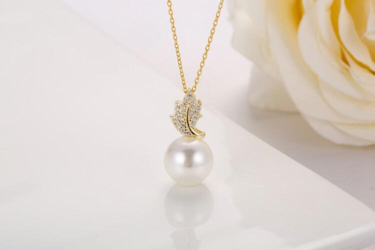 叶子钻石珍珠吊坠,耳钉-IMG_2871_1