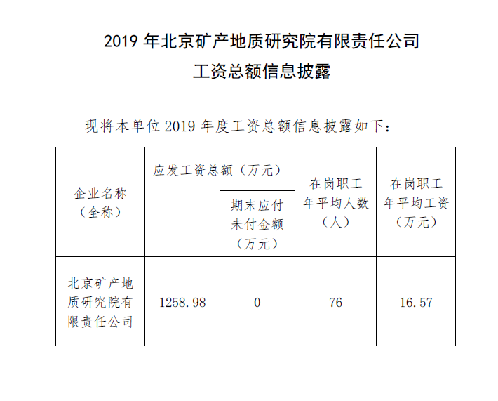 2019年工资总额信息披露