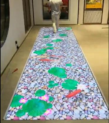 led地砖屏互动感应荷花鱼