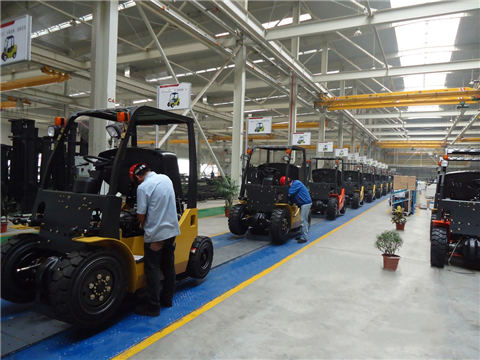 Forklift assembly line