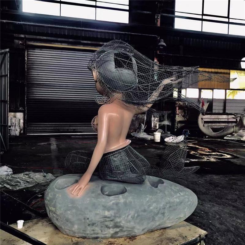 美人魚玻璃鋼雕塑加工3