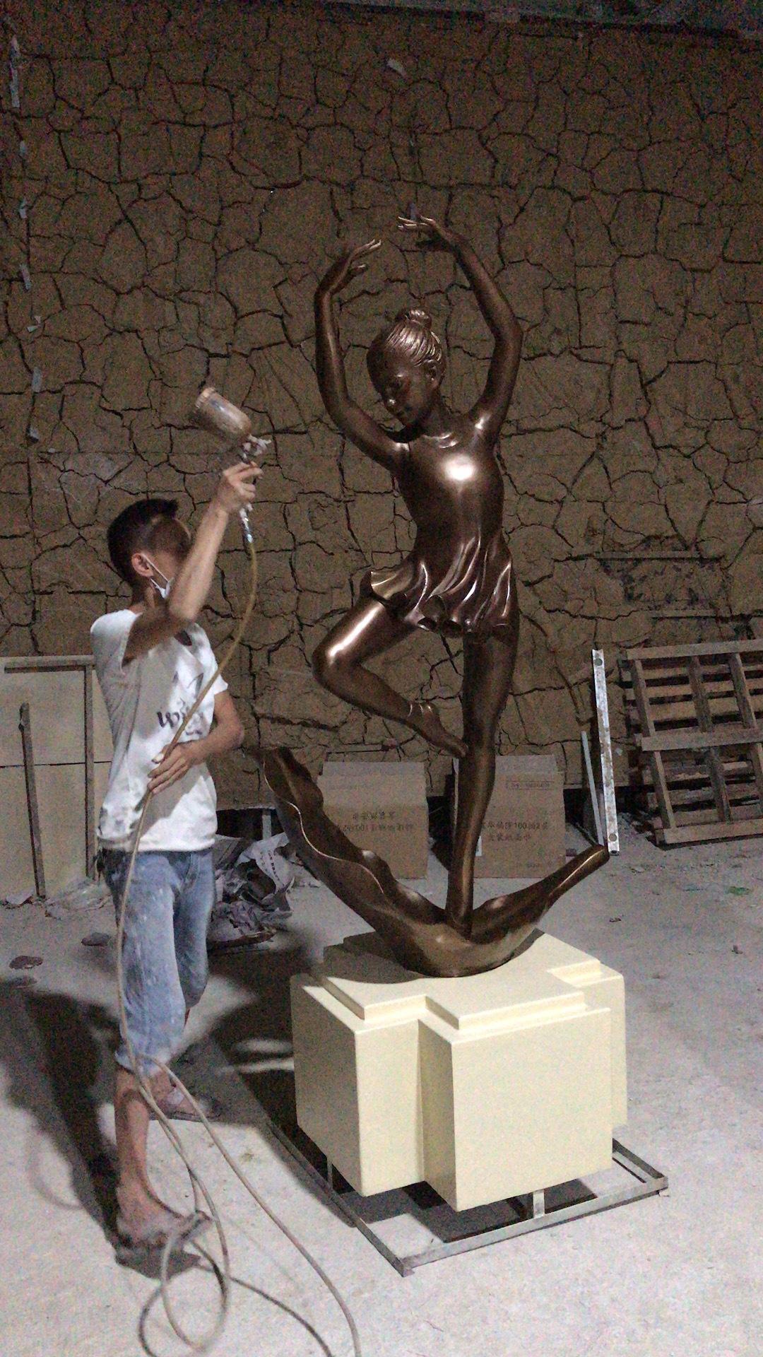 舞蹈人物雕塑玻璃鑄銅雕塑4