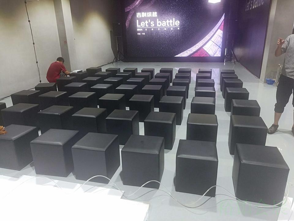 单人黑色沙发凳-1
