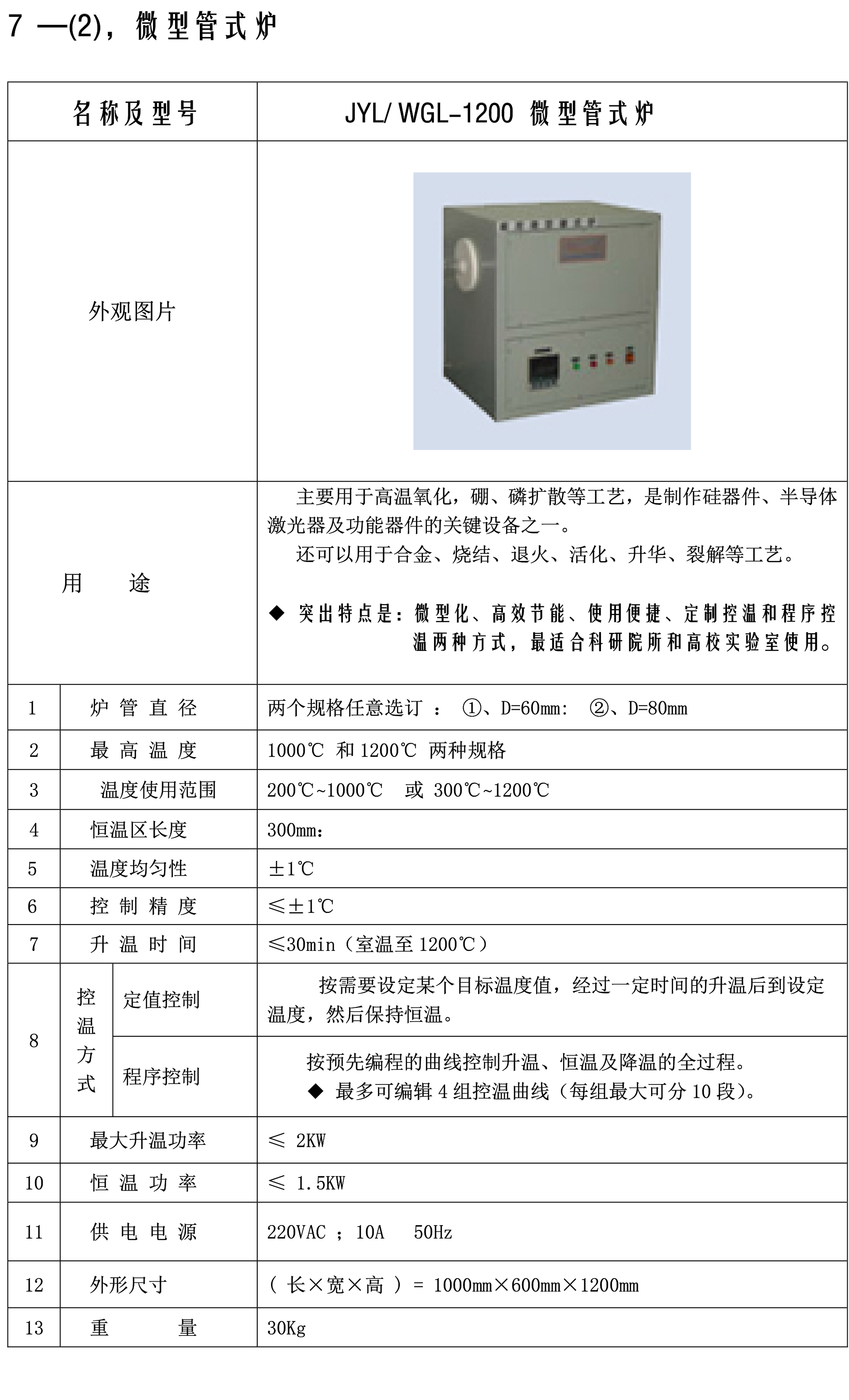 网站产品参数图片-007微型管式炉