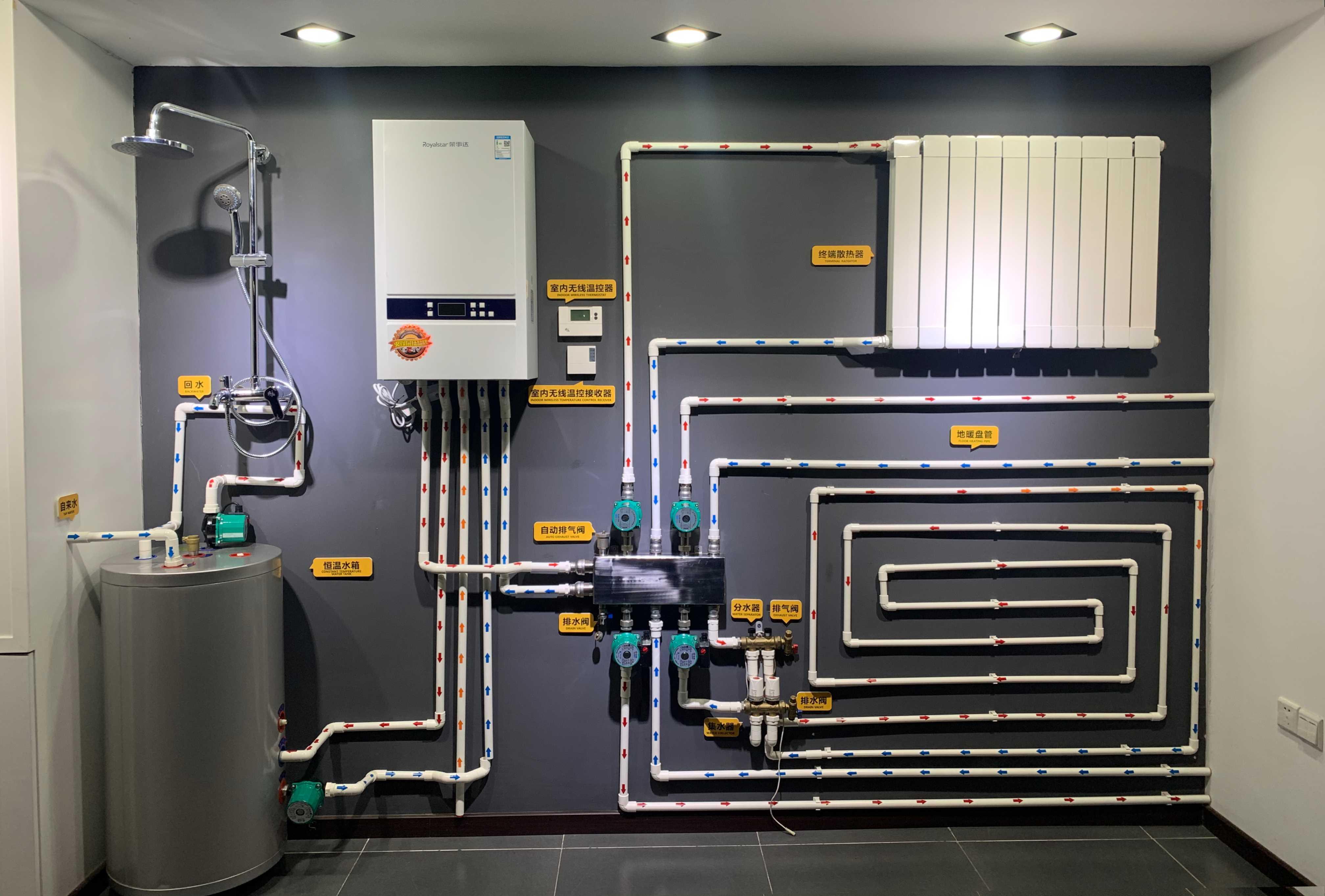 荣事达壁挂炉采暖+生活热水系统运作示意图