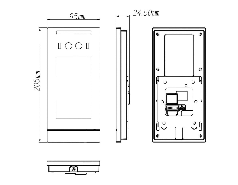汉玛智慧HM3101人脸识别终端机(智能人脸识别门禁系统方案)-产品尺寸图