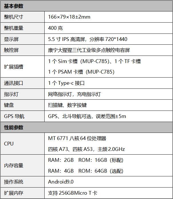 汉玛智慧HM5102手持实名核验人脸识别考勤机-产品参数